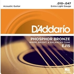 D'Addario EJ15 Phosphor Bronze Acoustic Guitar Strings, Extra Light Gauge