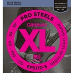 D'Addario EPS170-5 5-String ProSteels Bass Guitar Strings, Light, Long Scale