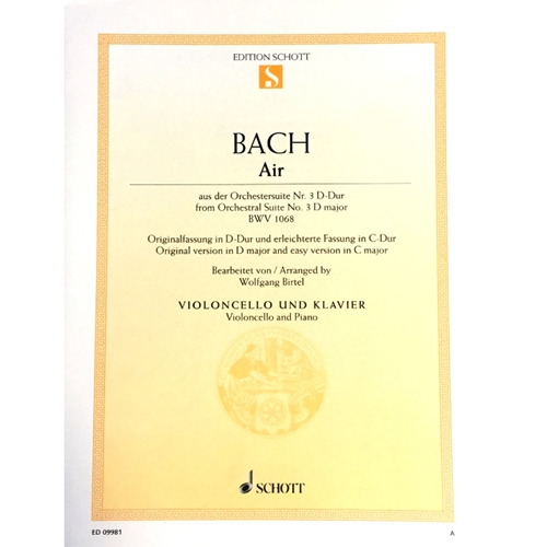 BACH - Air From Orchestral Suite No. 3 in D Major BWV 1068 for Cello and Piano