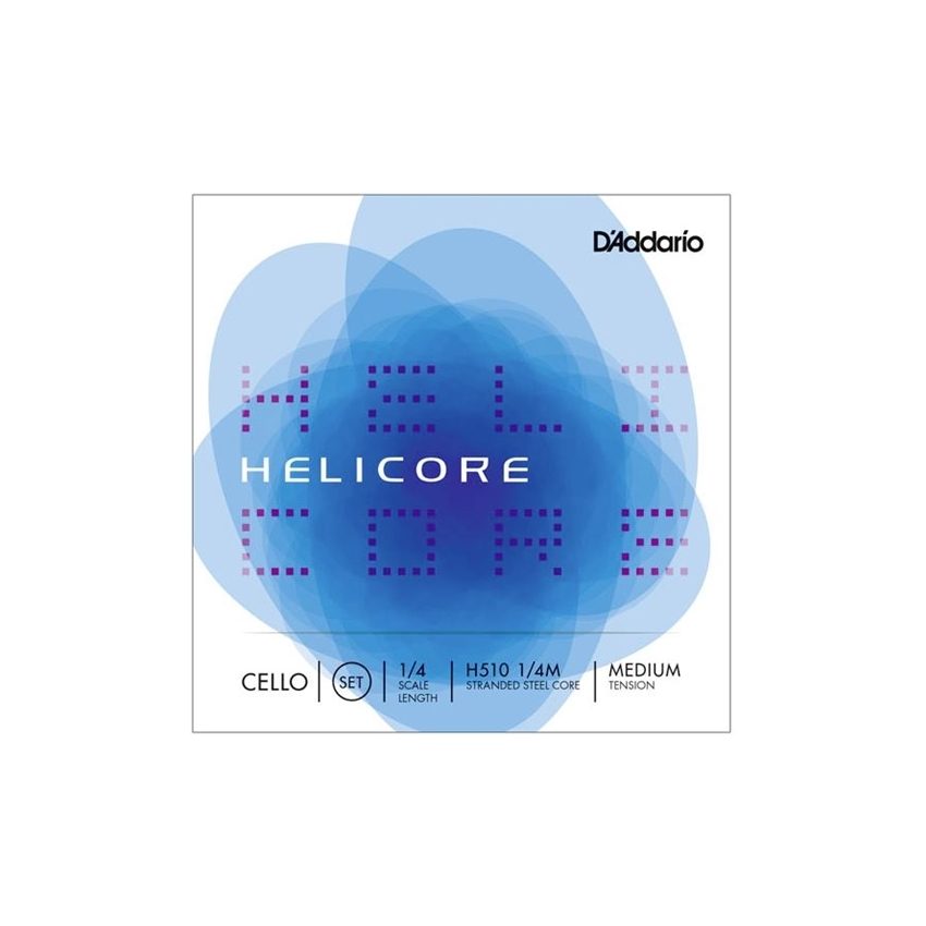 Helicore Cello String Set, 1/4 Scale, Medium Tension