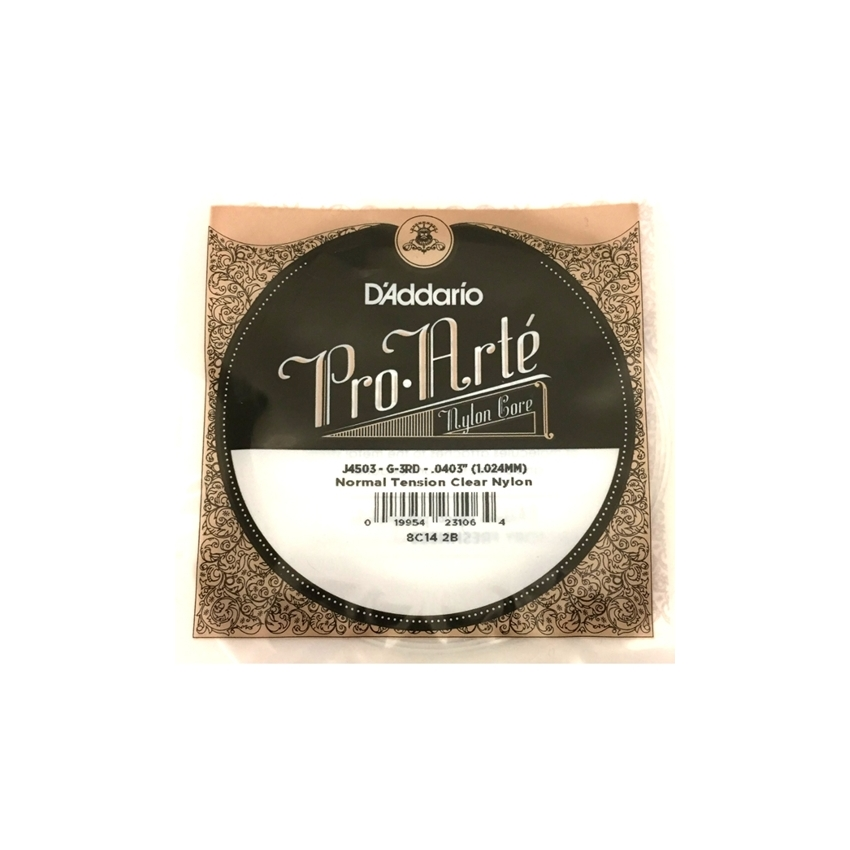 D'Addario J4503 Pro-Arte Nylon Classical Guitar Single String, Normal Tension, 3rd String G