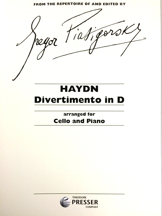 HAYDN - Divertimento in D for Cello & Piano