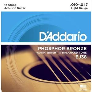 D'Addario EJ38 12-String Phosphor Bronze Acoustic Guitar Strings, Light