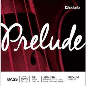D'Addario Prelude Bass String Set, 1/8 Scale, Medium Tension